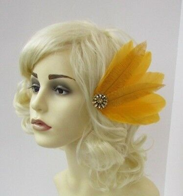 Navy Blue Mustard Yellow Gold Sinamay Feather Hair Fascinator Races Wedding 7470