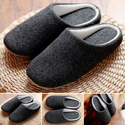 Winter Mens Warm Comfy Cotton Slip On Shoes Indoor Slipper Home Cosy Size Grey