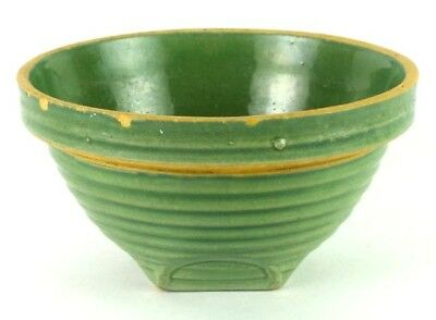Antique 1920s Nelson McCoy Pottery Green Stoneware Mixing Bowl 2 Shield Mark #8
