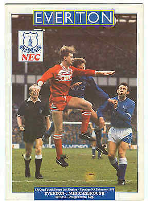 Football Programme - Everton v Middlesbrough - FA Cup Replay - 1988