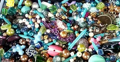 10 bags mermaid large big beads lot 300+ glass  crystal fire polished mop stone
