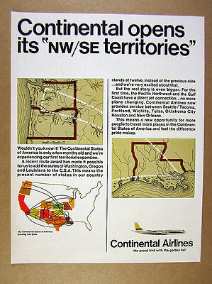 1967 Continental Airlines New Flights to Seattle Portland New Orleans vintage Ad