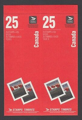 CANADA BOOKLET BK139c 50 x 42c FLAG OVER HILLS, DOMESTIC RATE, OPEN COVER/TI