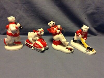 Coca Cola Polar Bear Figurines Lot of 4 Winter Sports 1995 Ceramic Enesco Vtg