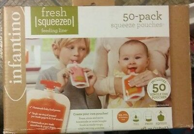 Infantino Squeeze Fresh Squeezed-Storage-Feeding-Pouches Set 50