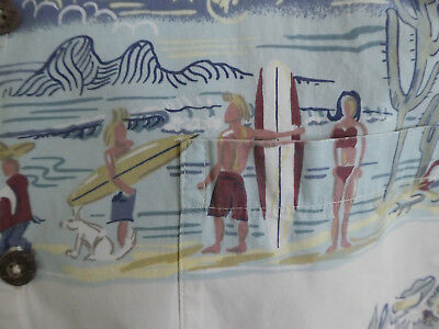 HAWAIIAN SHIRT AFTCO Bluewater Charters Men's L USA Bikini Beach Taco Stand