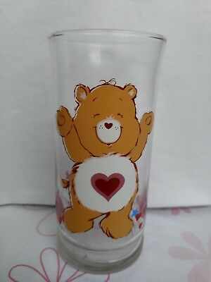 "Care Bears Vintage VTG 1980s Pizza Hut Glass 6"" Tenderheart Bear Limited Edition"