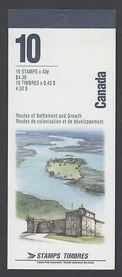 CANADA BOOKLET BK161a 10 x 43c HERITAGE RIVERS, ROUTES OF SETTLEMENT NO TI