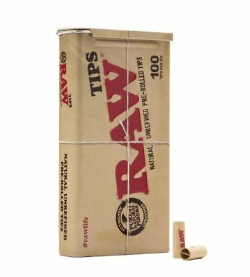 100 x RAW Natural Unrefined Pre-rolled Tips In Tin Smoking Cigarette Tobacco