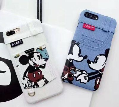 Minnie Mouse Mickey Jeans Leather Skin Hard Case For iPhone 6 7 8 Plus C0143