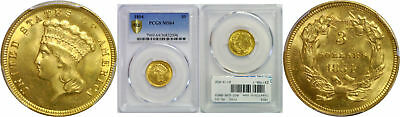 1854 $3 Gold Coin PCGS MS-64