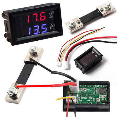 Mini Voltmeter Ammeter 100v 10/50/100a Led Dual Digital Volt Amp Meter Gauge Diy