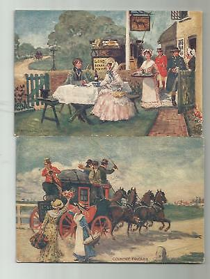 (2) 1910 Tuck Coaching Scenes 2888 Postcards Traveling Companions Country Favour