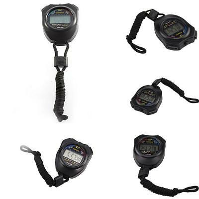 NEW Handheld Digital Sports Stopwatch Stop Watch LCD Timer Chronograph Counte^+