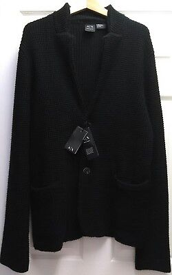 Men's Armani Exchange Size XL-L Black Cotton Wool Blend Knit Blazer, MSRP $200