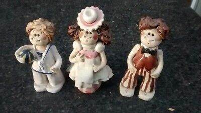 3 Ornament's  - (like Laura Dunn)  10cm tall made of clay