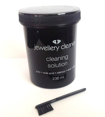 JEWELLERY CLEANER LIQUID CLEANING SOLUTION Gold/Silver/Gems/Platinum WITH BRUSH*