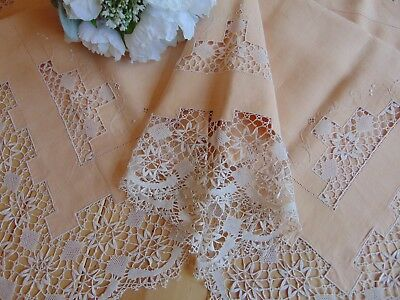 Antique Pure Linen Handmade Reticella Lace Edges & Inlay Large Pillowcase 101X78