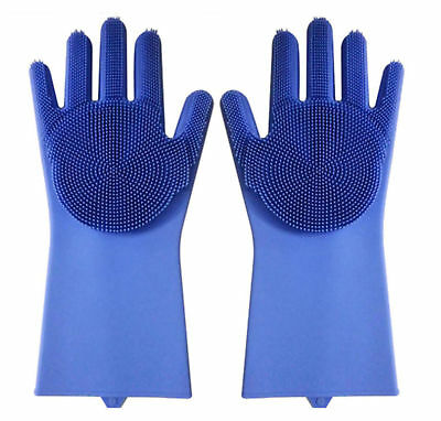 Silicone Washing Up Gloves Dish Heat Resistant Scrubber Cleaner FAST DELIVERY
