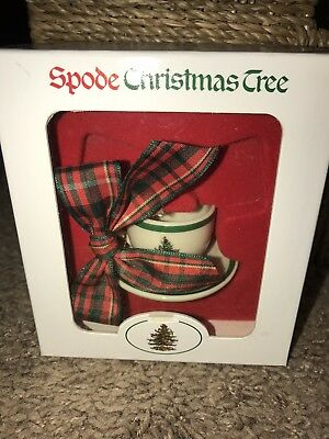 Spode MINI Christmas Tree Cup and Saucer Tree Ornament Plaid ribbon NEW IN BOX