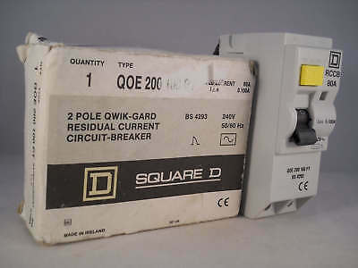 Square D RCD 80 Amp 100mA Double Pole 80A Type QOE RCCB QOE200100PT NEW