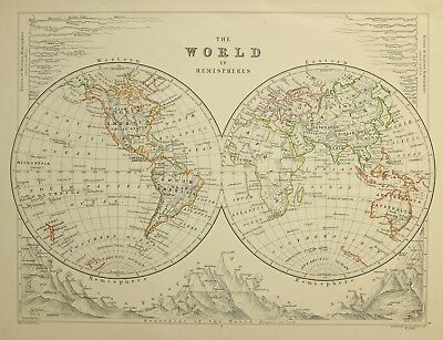 1874 Antique Map World Western & Eastern Hemispheres Rivers & Mountains