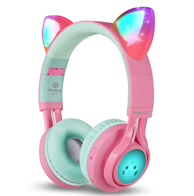 Bluetooth Headphones Riwbox CT-7 Cat Ear LED Light Up Wireless Foldable Headphon