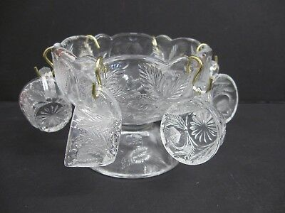 Mosser Glass Inverted Strawberry Mini Punch Bowl+Cups+Hooks Clear Glass