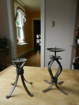 Pair of Vintage Gothic Black Wrought Iron Candle Holders Lot of 2