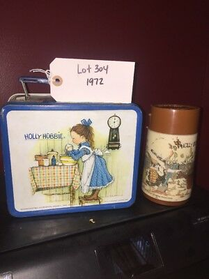 Vintage 1972 Holly Hobbie blue trim Lunch Box & wrong broke Thermos Rare Lot 304
