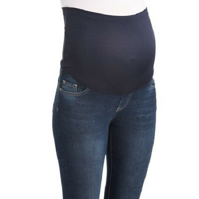 Maternity Full Panel Super Soft 5 Pocket Skinny Jeans with Released Hem sz L