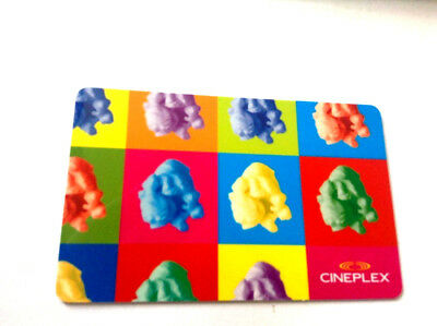 "CINEPLEX GIFT CARD ""COLORED POPCORN "" NO VALUE NEW RECHARGEABLE (ship rightaway)"