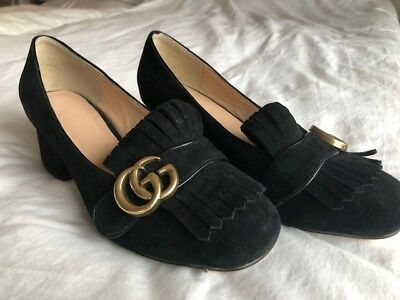6ca59db9c45f27 GUCCI Women s Marmont GG Black Suede Fringe Loafer Mid-Heel Pumps Size 39 9