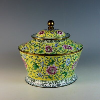 Vintage Chinese Canton Enamel Famille Jaune Bowl with Lid