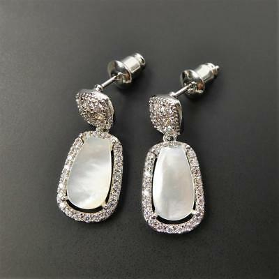 Chic Shiny Silver Tone Sparkling CZ Frame White Mother of Pearl Drop Earrings