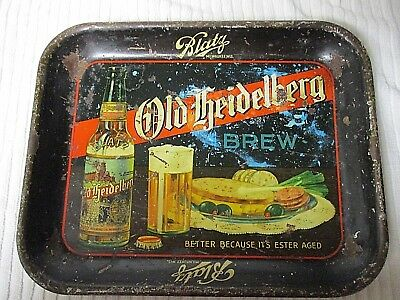 1930's Blatz Old Heidelberg Brew Beer Metal Advertising Pub Bar Serving Tray