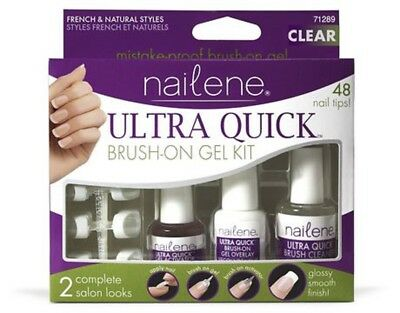 Nailene Ultra Quick Brush On Gel Kit 71289 French - Natural Style 48 Nail Tips