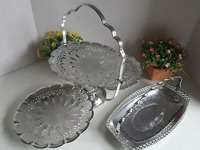 Vintage Lot of Silver Colored Tin Serving Ware Handle Bowl and Dessert Fold Out