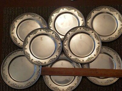 8 Wallace streling silver bread and butter plates .mono