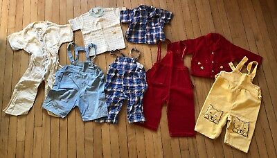 Vintage Lot Of Baby Toddler Clothes 50s 60s Boys Overalls Plaid Chambray Outfits
