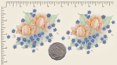 """2 x Waterslide ceramic decals Peach / blue floral Approx. 3 1/2"""" x 3 1/ 4"""" PD823"""
