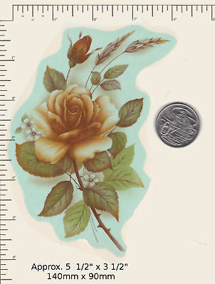 """1 x Waterslide ceramic decal Bronze Rose flowers Floral 5 1/2"""" x 3 1/2"""" PD30a"""