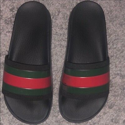 a74e68123 Pre-Owned: Authentic GUCCI Web Slide Sandal Men's size US 6 w/original