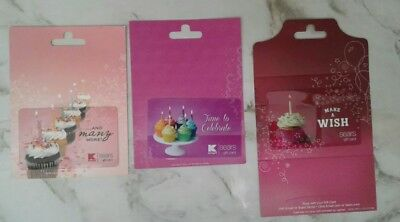 3 Different Sears, KMart, Cupcake Gift Cards, RETIRED, Collectible, Mint