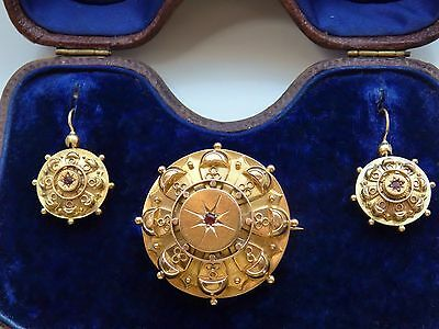 Antique Victorian 15ct Gold Garnet Brooch & Earrings c1871 in Tooled Fitted Case