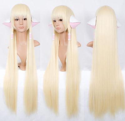 Chobits CHII 100cm super long pale milk blonde COSPLAY wig Gift ears accessoAE24