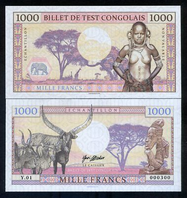Congo, 1000 Francs, 2018, Private issue, Specimen - African Tribal Nude