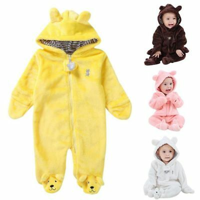 Newborn Baby Infant Kid Romper Hooded Jumpsuit Bodysuit Boy Girl Outfits Clothes