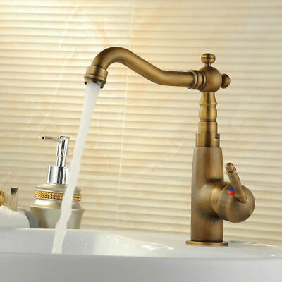Traditional Antique Brass Single Handle Bathroom Sink Faucet with Swivel Spout