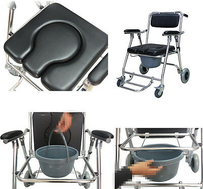 USA Stock Mobile Commode Chair with 4 brakes,Wheels  Footrests Wheelchair Toilet